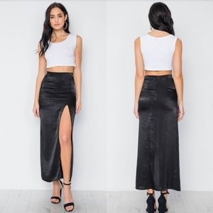 Black Bodycon Front Slit Maxi Skirt NWT
